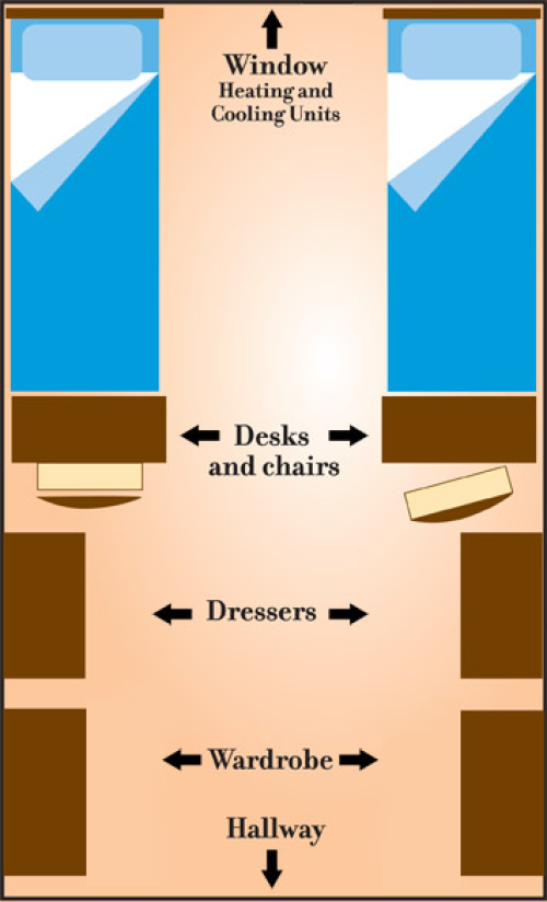 Floor plan of a room in Pierce and White Halls