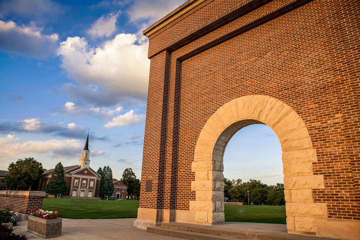 Victory Arch and Schaller Memorial Chapel, two campus landmarks