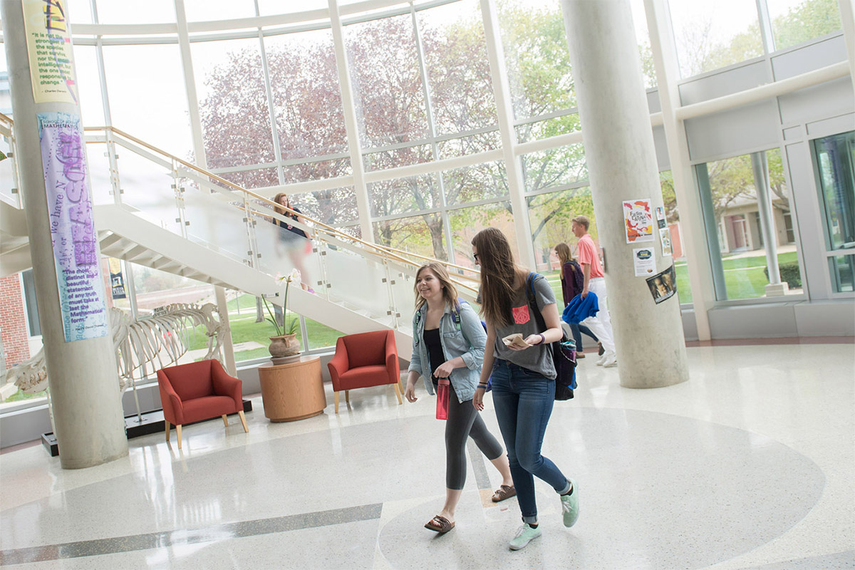 Students walking in the science center