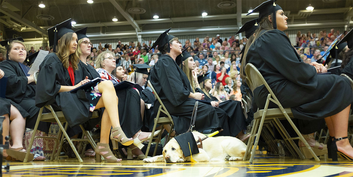 A graduate and her service dog sitting during the commencement ceremony
