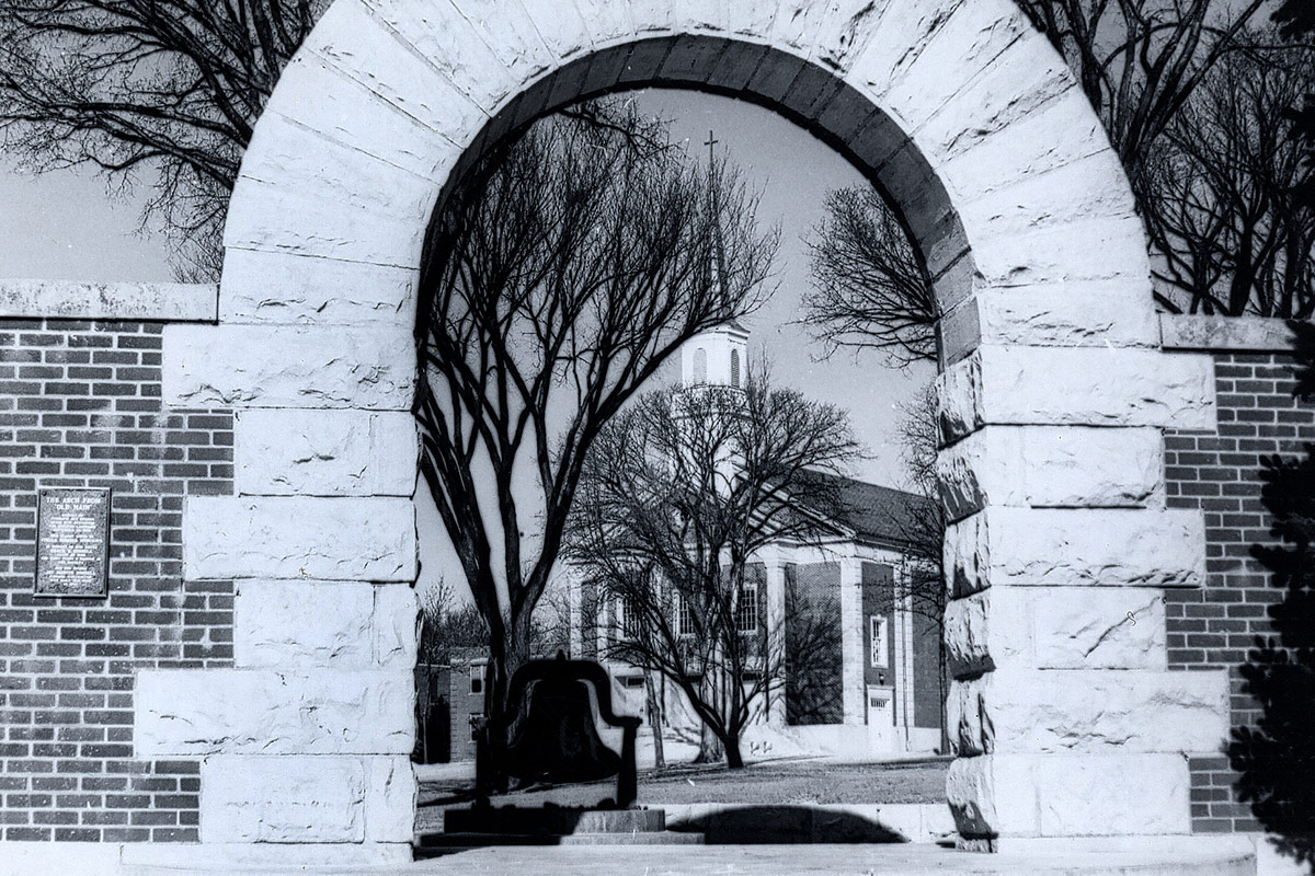 Black and White Arch with Chapel