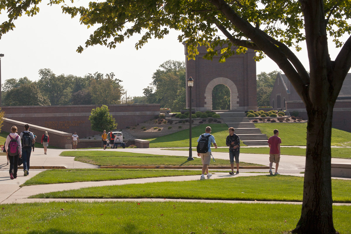 Students walking across courtyard