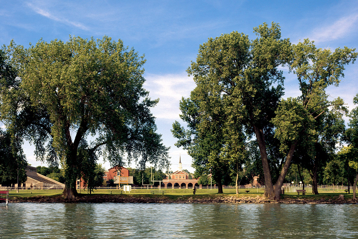 Trees and Lake with Chapel in Background