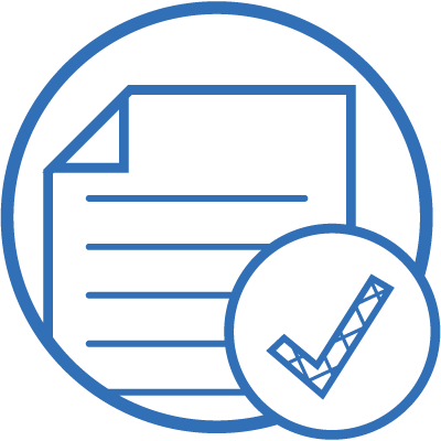 check mark on paperwork icon