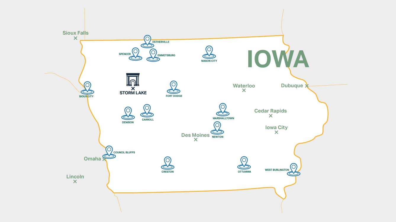 Iowa map with BVU locations