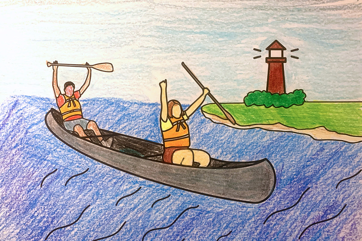 A picture of students in a canoe, colored with crayon