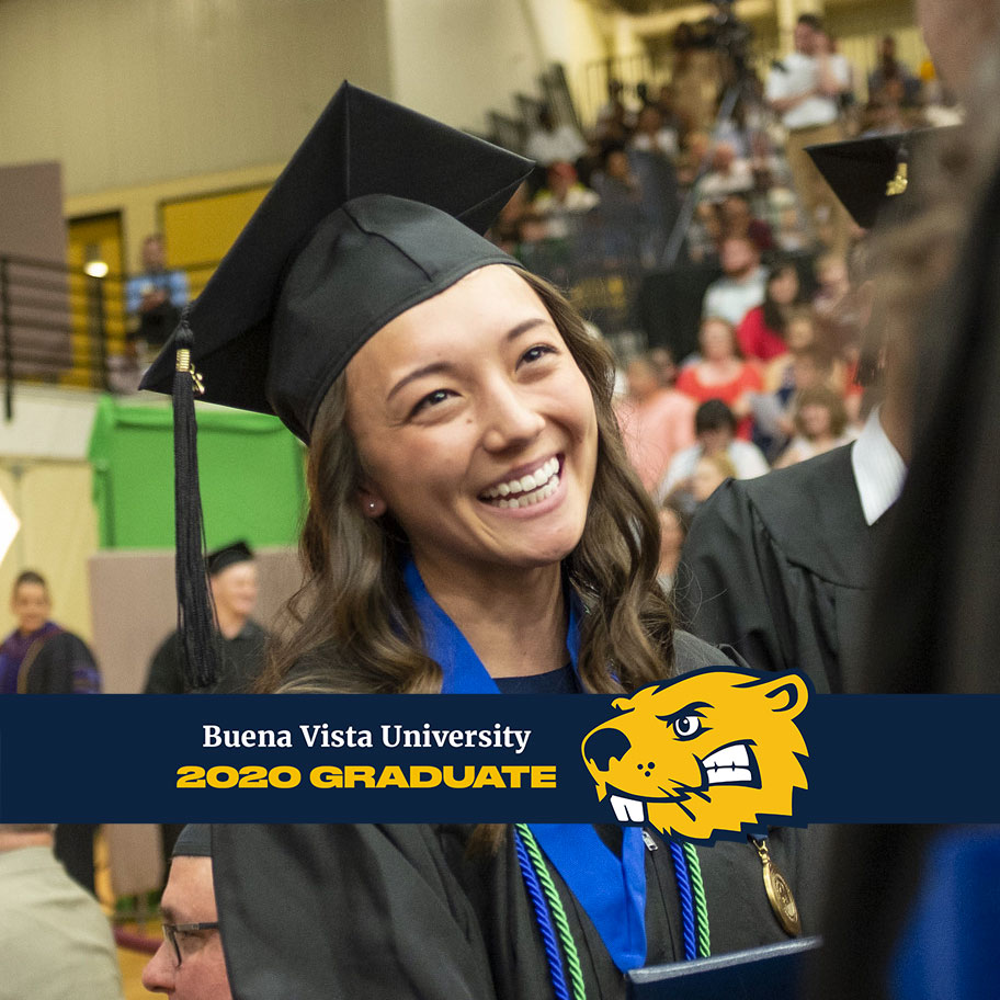 A photo of a graduate with the Facebook frame