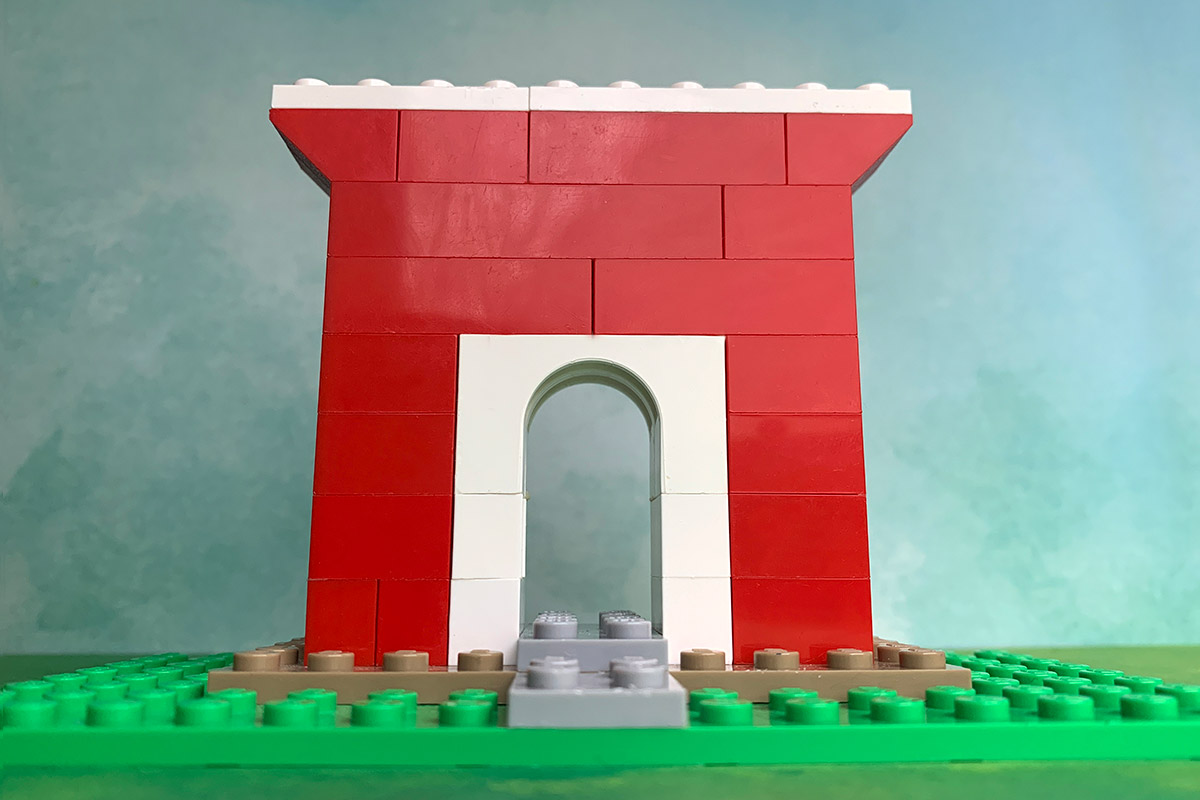 Arch made of interlocking bricks