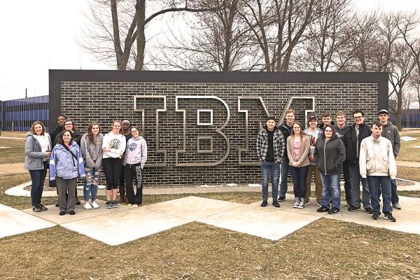 Students in front of IBM headquarters