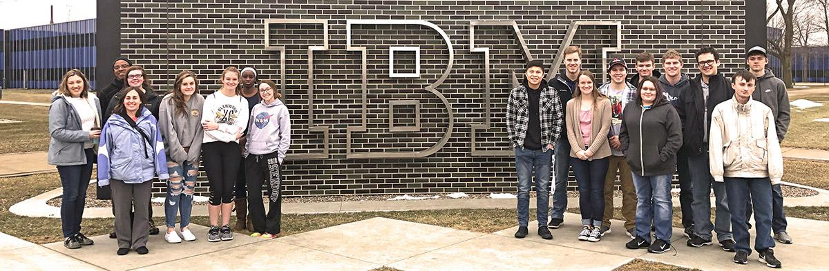 Students on the STEM trip outside IBM