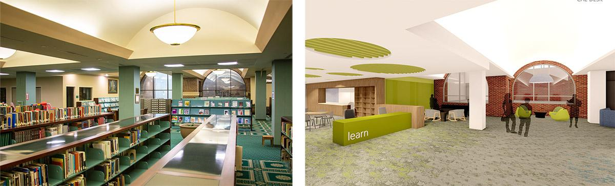 Before and after renderings of the library