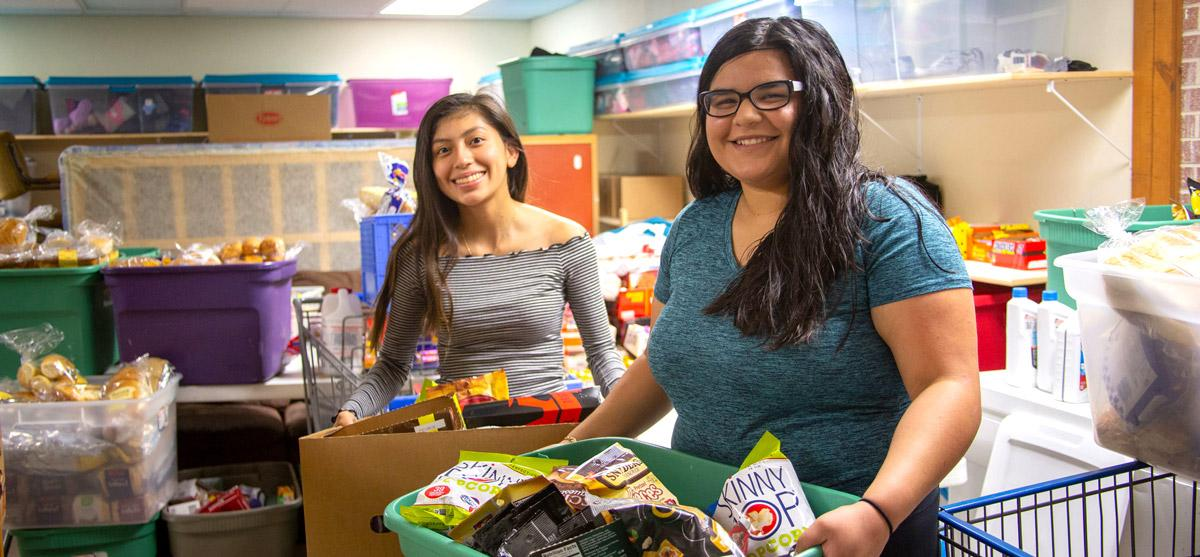 Students perform service at a food pantry
