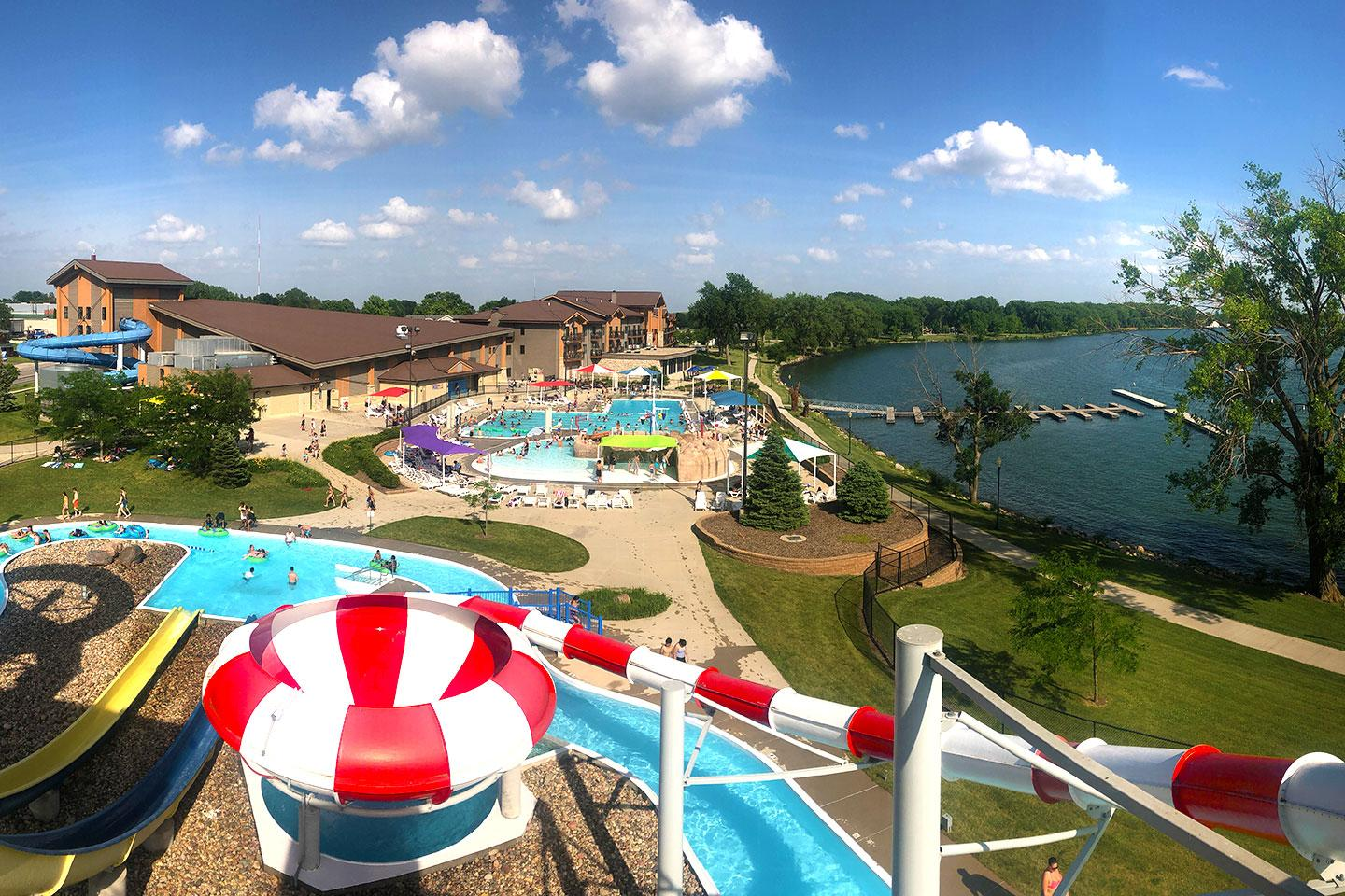 Kings Pointe waterpark and lake from above