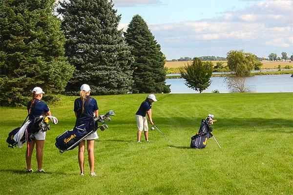 Golfers at Lake Creek