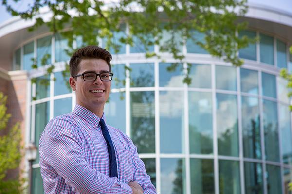 Gerald Quinlan '19 standing in front of the BVU Science Center