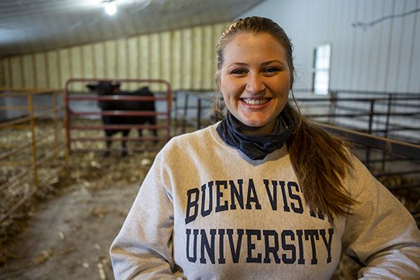 Freshman Phoebe Flaskey working at BVU's Agricultural Experiment Station.